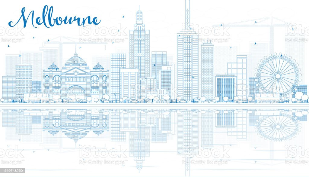 Outline Melbourne Skyline with Blue Buildings and Reflections. vector art illustration