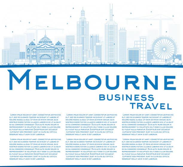 outline melbourne skyline with blue buildings. - melbourne stock illustrations