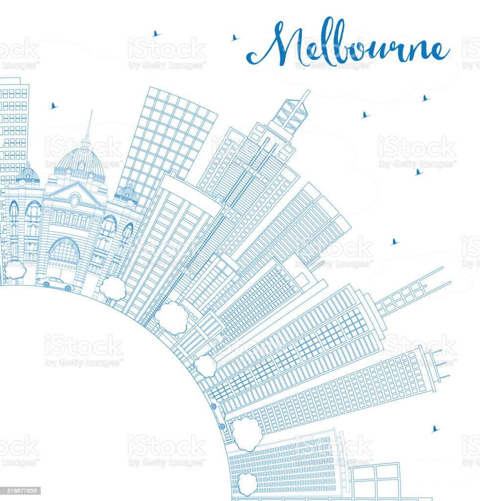Outline Melbourne Skyline with Blue Buildings. vector art illustration