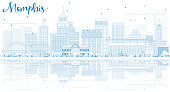 Outline Memphis Skyline with Blue Buildings and Reflections. Vector Illustration. Business Travel and Tourism Concept with Historic Architecture. Image for Presentation Banner Placard and Web Site.
