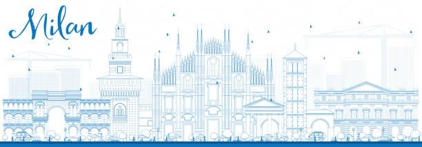 illustrazioni stock, clip art, cartoni animati e icone di tendenza di sagoma skyline di milano e blu luoghi. - milan