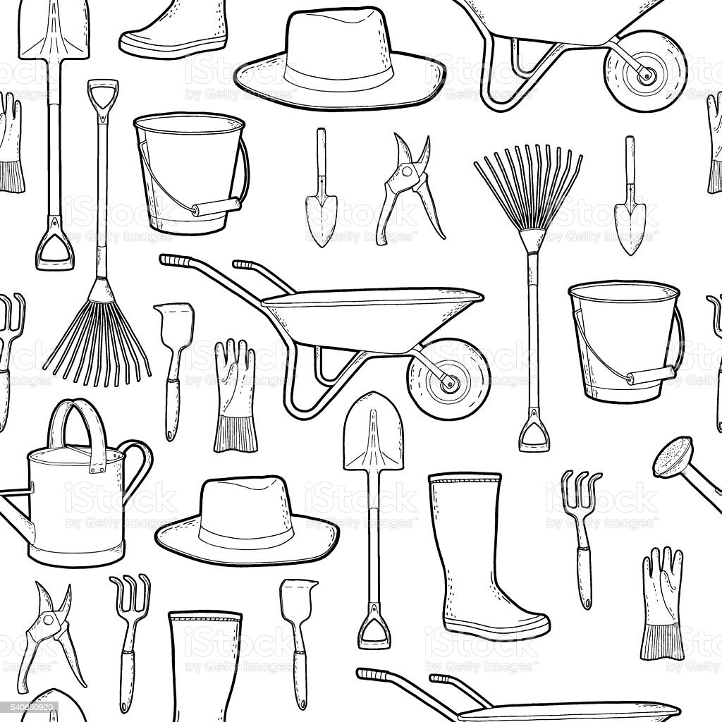 Outline monochrome pattern with garden, farmer tools. Instruments, hat, wheelbarrow. vector art illustration