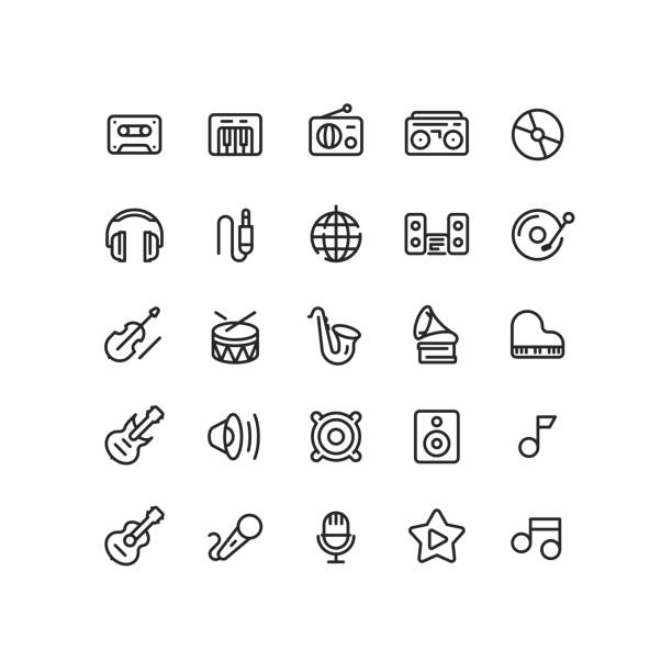 outline music icons - instrument strunowy stock illustrations
