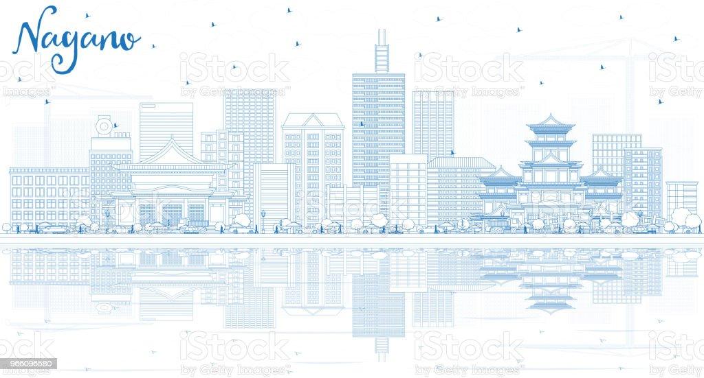 Kontur Nagano Japan stadssilhuetten med blå byggnader och reflektioner. - Royaltyfri Arkitektur vektorgrafik