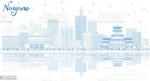 Kontur Nagano Japan Stadssilhuetten Med Blå Byggnader Och Reflektioner-vektorgrafik och fler bilder på Arkitektur