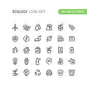 Set of nature and ecology outline vector icons. Easy editable stroke.
