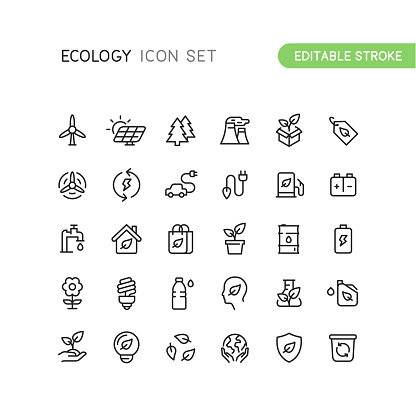 Outline Nature Ecology Icons Editable Stroke