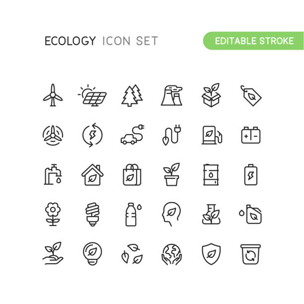 Outline Nature Ecology Icons Editable Stroke Set of nature and ecology outline vector icons. Easy editable stroke. environmental icons stock illustrations