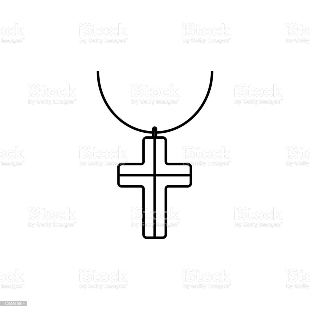 Outline Necklace Cross Icon Isolated On Grey Background Modern