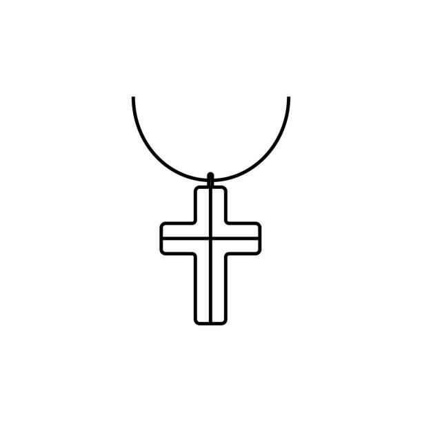 übersicht-halskette kreuz-symbol auf grauem hintergrund isoliert. moderne einfache flache symbol für website-design, logo, app, ui. editierbare schlaganfall. vektor-illustration. eps10 - kreuzkette stock-grafiken, -clipart, -cartoons und -symbole