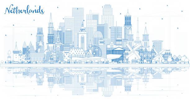 stockillustraties, clipart, cartoons en iconen met overzicht nederlandse skyline met blauwe gebouwen. - den haag