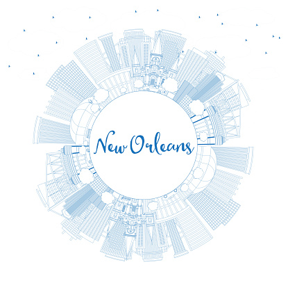Outline New Orleans Louisiana City Skyline with Blue Buildings and Copy Space.