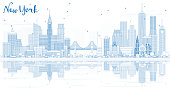 Outline New York USA City Skyline with Blue Buildings and Reflections. Vector Illustration. Business Travel and Tourism Concept with Modern Architecture. New York Cityscape with Landmarks.