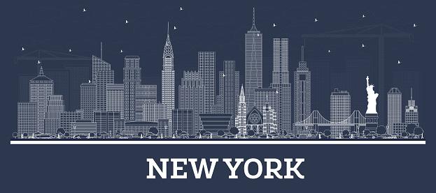 Outline New York USA City Skyline with White Buildings.