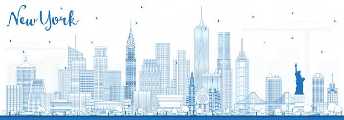 Outline New York USA Skyline with Blue Buildings.