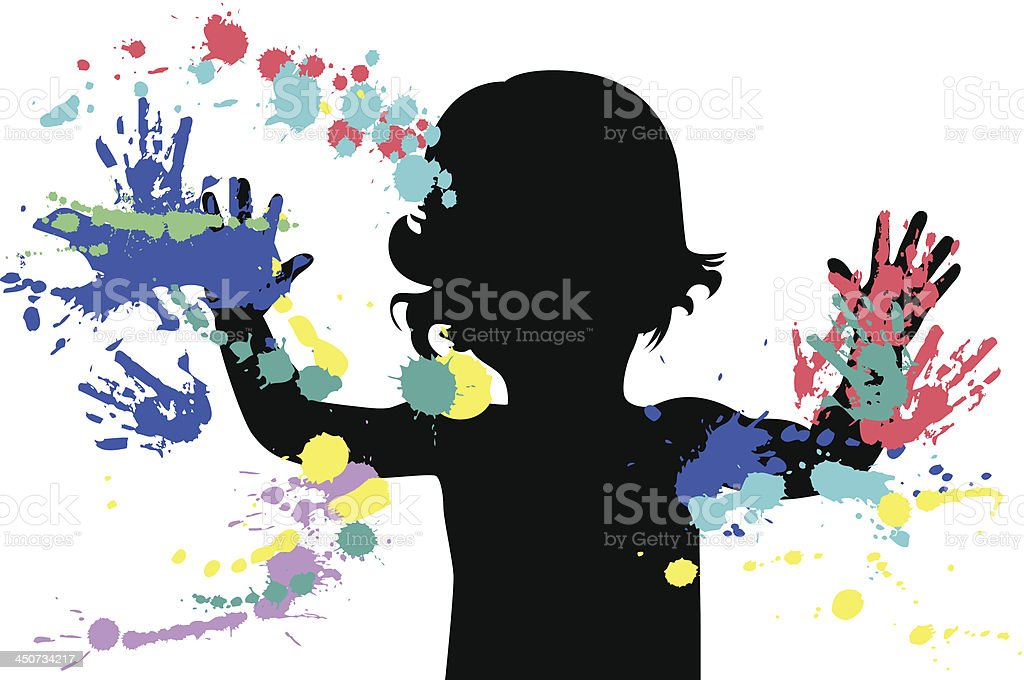 Outline of a child using different colors of finger paint  vector art illustration