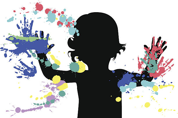 stockillustraties, clipart, cartoons en iconen met outline of a child using different colors of finger paint  - baby dirty