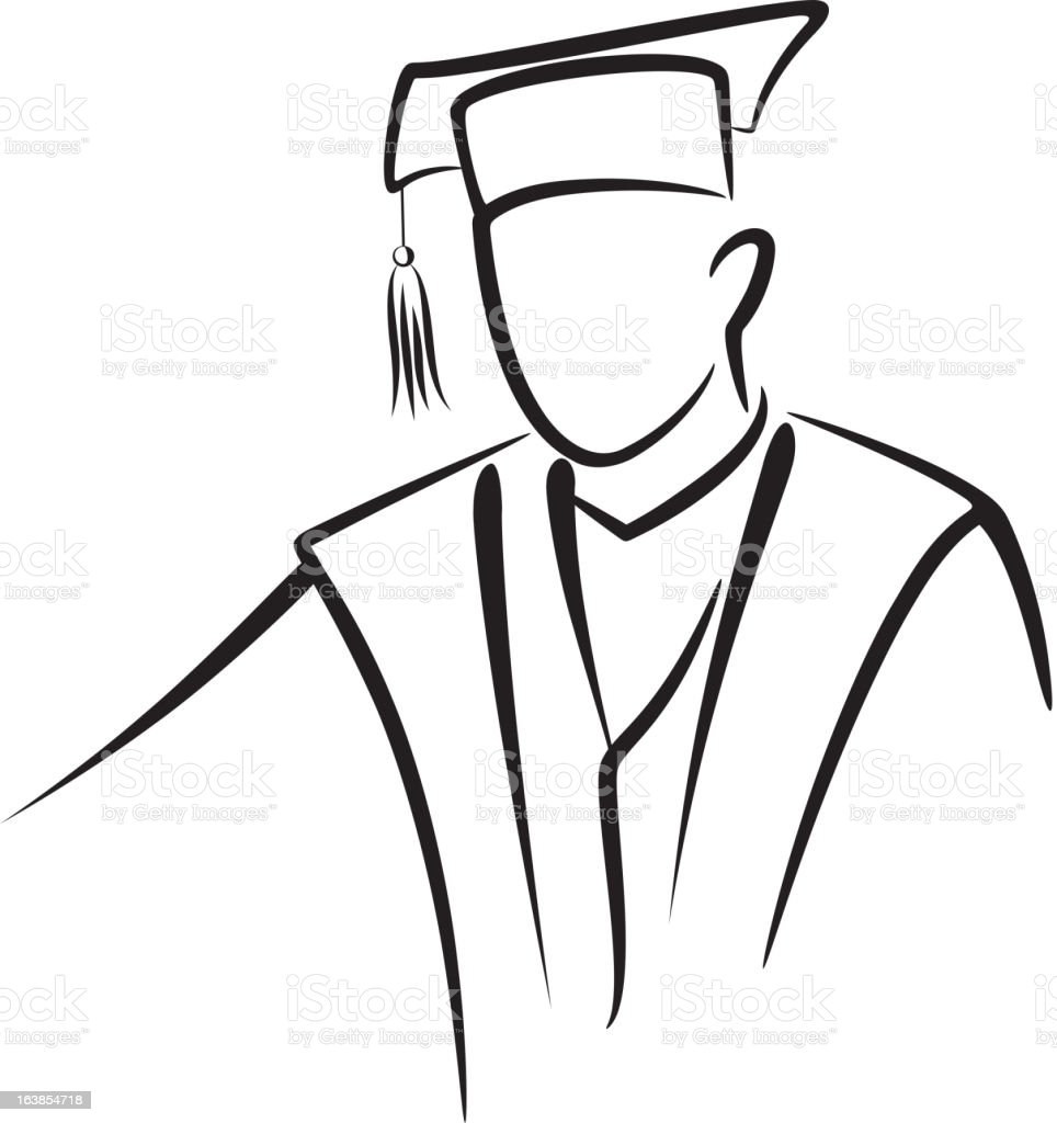Outline Of A Graduate With Graduation Cap And Gown Stock ...