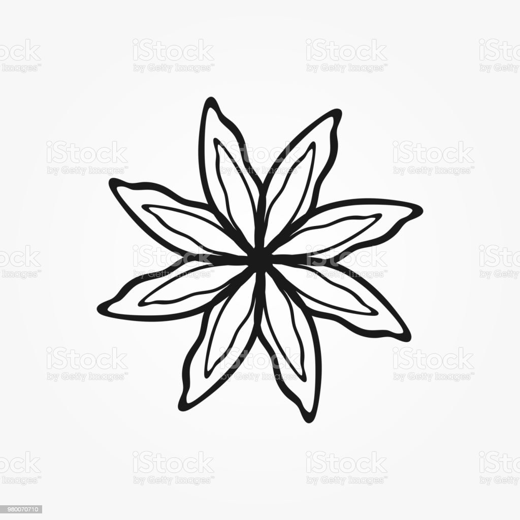 Outline Of Abstract Flower Drawn By Hand Isolated Icon Logo