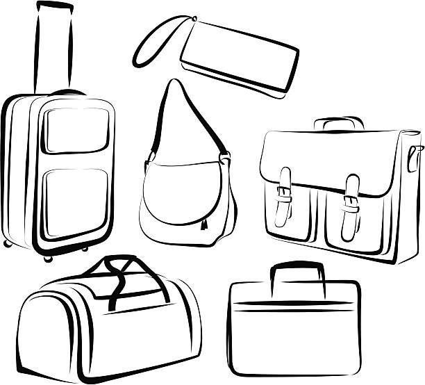 satz von taschen - laptoptaschen stock-grafiken, -clipart, -cartoons und -symbole
