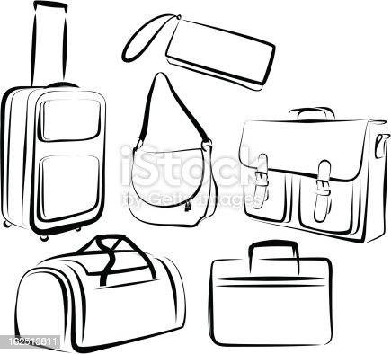 Outline Of Drawing Of Set Of Bags In Black And White Stock ...