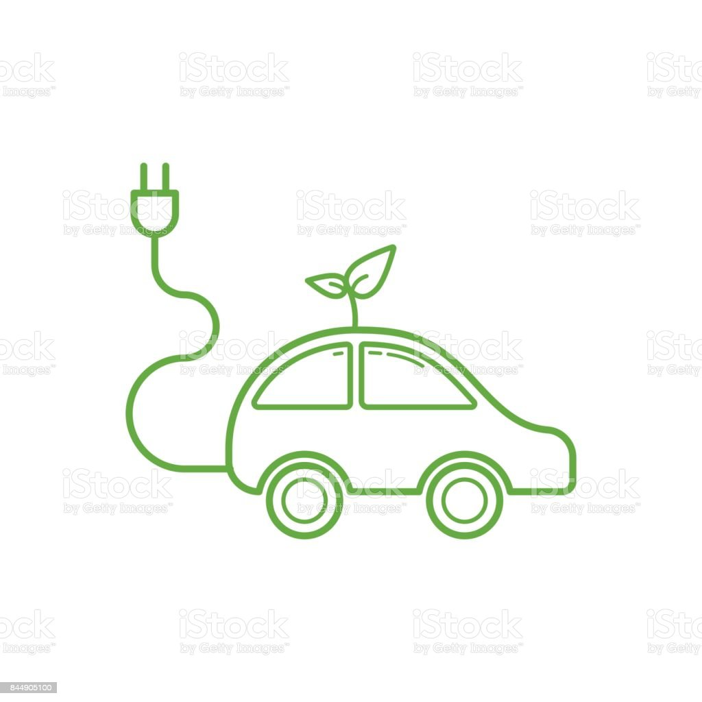 Outline of electric car icon on white background, Ecology and green energy concept vector art illustration