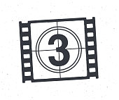 Outline of film strip part with countdown timer. Retro frame of filmstrip. Vintage movie timer for cinema. Film industry. Vector illustration. Hand drawn black ink sketch isolated on white background