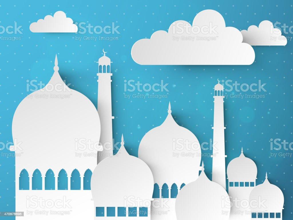 Outline of Ramadan Kareem celebration with Islamic mosque