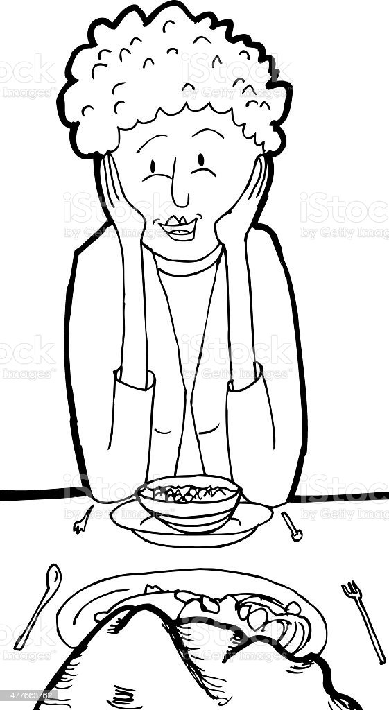 Outline of Smiling Woman at Dinner with Rock vector art illustration