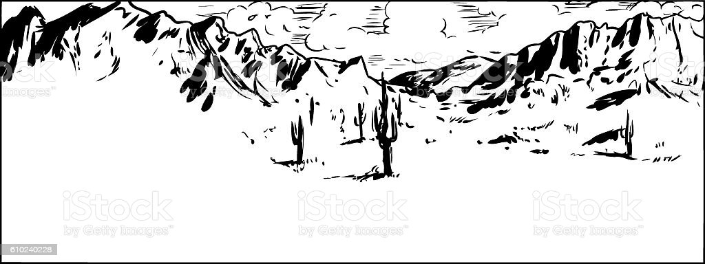 Outline of Sonaran Desert with Partly Cloudy Sky vector art illustration