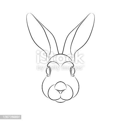 istock Outline of stylized rabbit portrait on white background. 1267286891