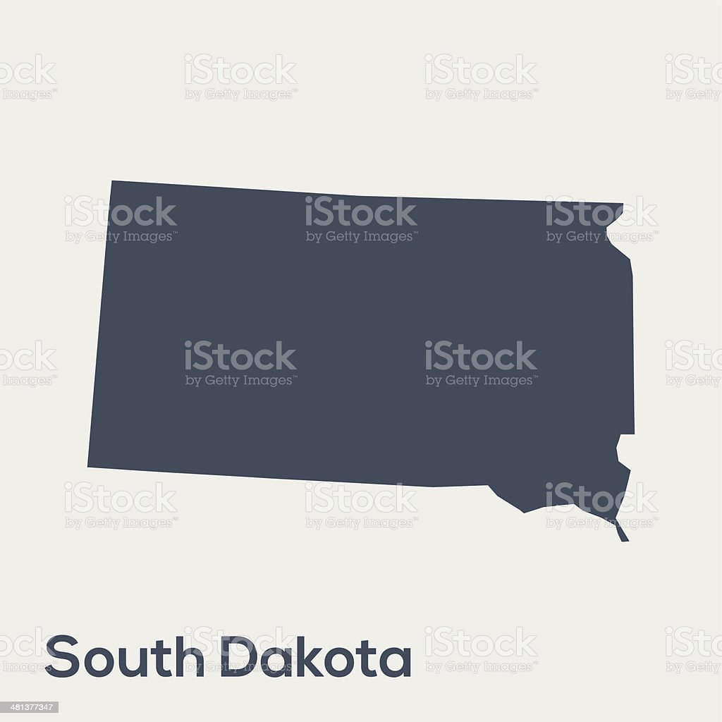 Outline of the USA state of South Dakota vector art illustration