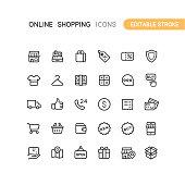 Set of online shopping vector icons. Editable stroke.