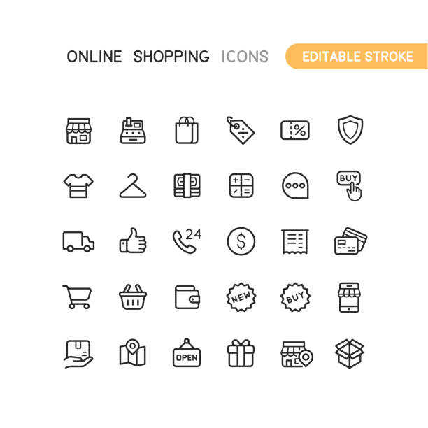 illustrazioni stock, clip art, cartoni animati e icone di tendenza di outline online shopping icons editable stroke - acquisti