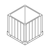 Outline open air drop box from the game PlayerUnknowns Battlegrounds. PUBG. Isometric container. Battle royal concept. Clean and modern vector illustration for design, web.