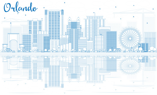 Outline Orlando Skyline with Blue Buildings and Reflections.