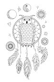 outline ornamental owl into dreamcatcher, moon and sun