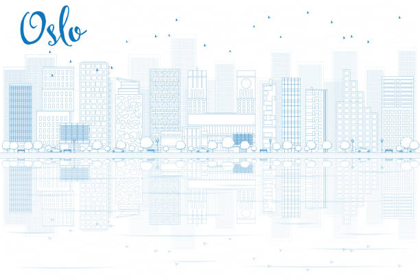 stockillustraties, clipart, cartoons en iconen met outline oslo skyline with blue buildings and reflections. - oslo city hall