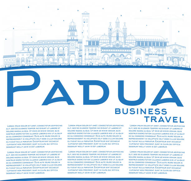 skihimmel padua italy city skyline mit blauen gebäuden und copy space. - padua stock-grafiken, -clipart, -cartoons und -symbole
