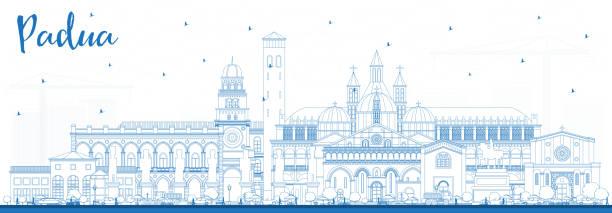umriss padua italy city skyline mit blauen gebäuden. - padua stock-grafiken, -clipart, -cartoons und -symbole