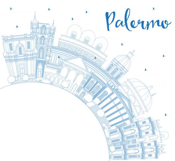 illustrazioni stock, clip art, cartoni animati e icone di tendenza di outline palermo italy city skyline with blue buildings and copy space. - palermo città