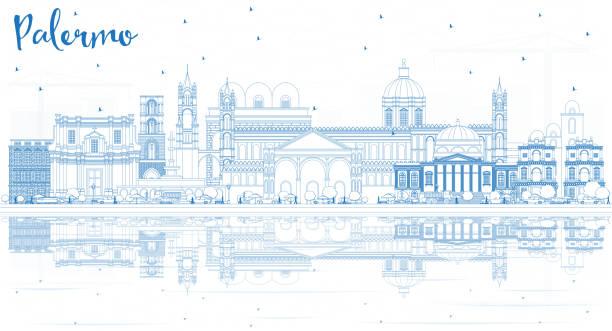 illustrazioni stock, clip art, cartoni animati e icone di tendenza di outline palermo italy city skyline with blue buildings and reflections. - palermo città