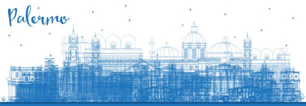 illustrazioni stock, clip art, cartoni animati e icone di tendenza di outline palermo italy city skyline with blue buildings. - palermo città