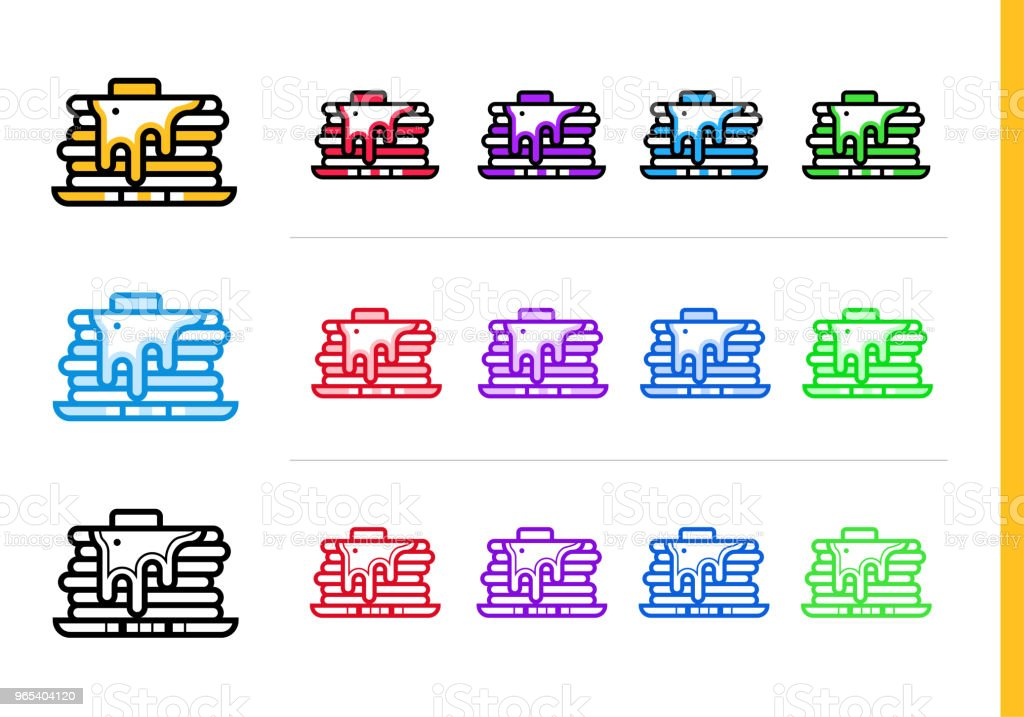 用不同的顏色勾勒出煎餅的圖示。適合網站、移動應用和演示的向量元素 - 免版稅外型圖庫向量圖形