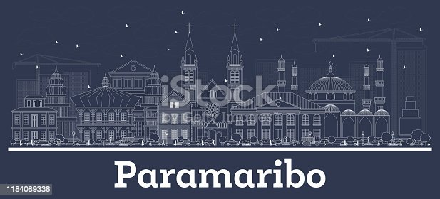 Outline Paramaribo Suriname City Skyline with White Buildings. Vector Illustration. Business Travel and Concept with Historic Architecture. Paramaribo Cityscape with Landmarks.