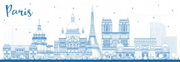 bildbanksillustrationer, clip art samt tecknat material och ikoner med skissera paris frankrike stadssilhuett med blå byggnader. - paris