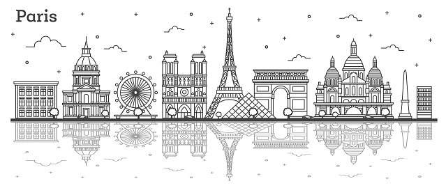 Outline Paris France City Skyline with Historic Buildings and Reflections Isolated on White.