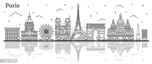 Outline Paris France City Skyline with Historic Buildings and Reflections Isolated on White. Vector Illustration. Paris Cityscape with Landmarks.