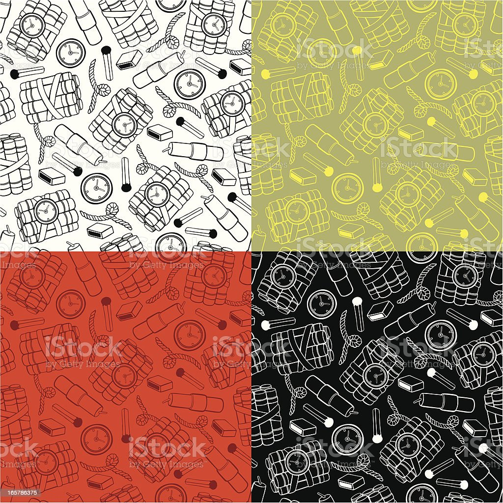 Outline pattern of bombs & matches royalty-free stock vector art