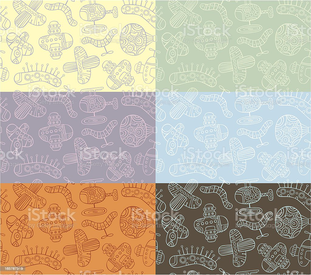 Outline pattern of planes royalty-free stock vector art